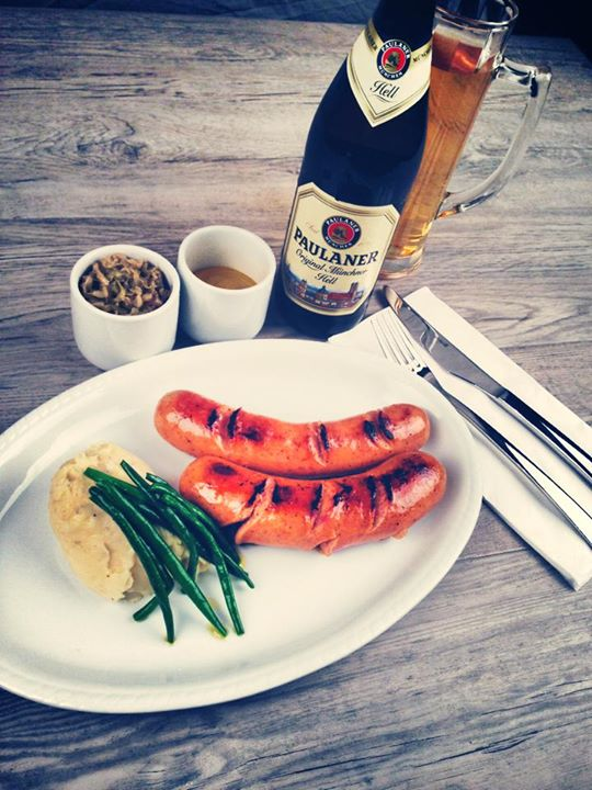 Paulaner and Sausages at Prost German Restaurant