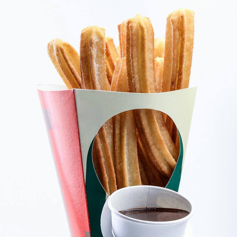 Churros frpm La Lola Churreria. An excellent Spanish dessert with hot chocolate
