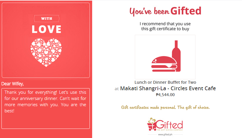 Greeting card to give a Buffet at Shangri-la Circles Event Cafe. Buy this Gift certificate at Gifted.PH online for anyone in Manila Philippines