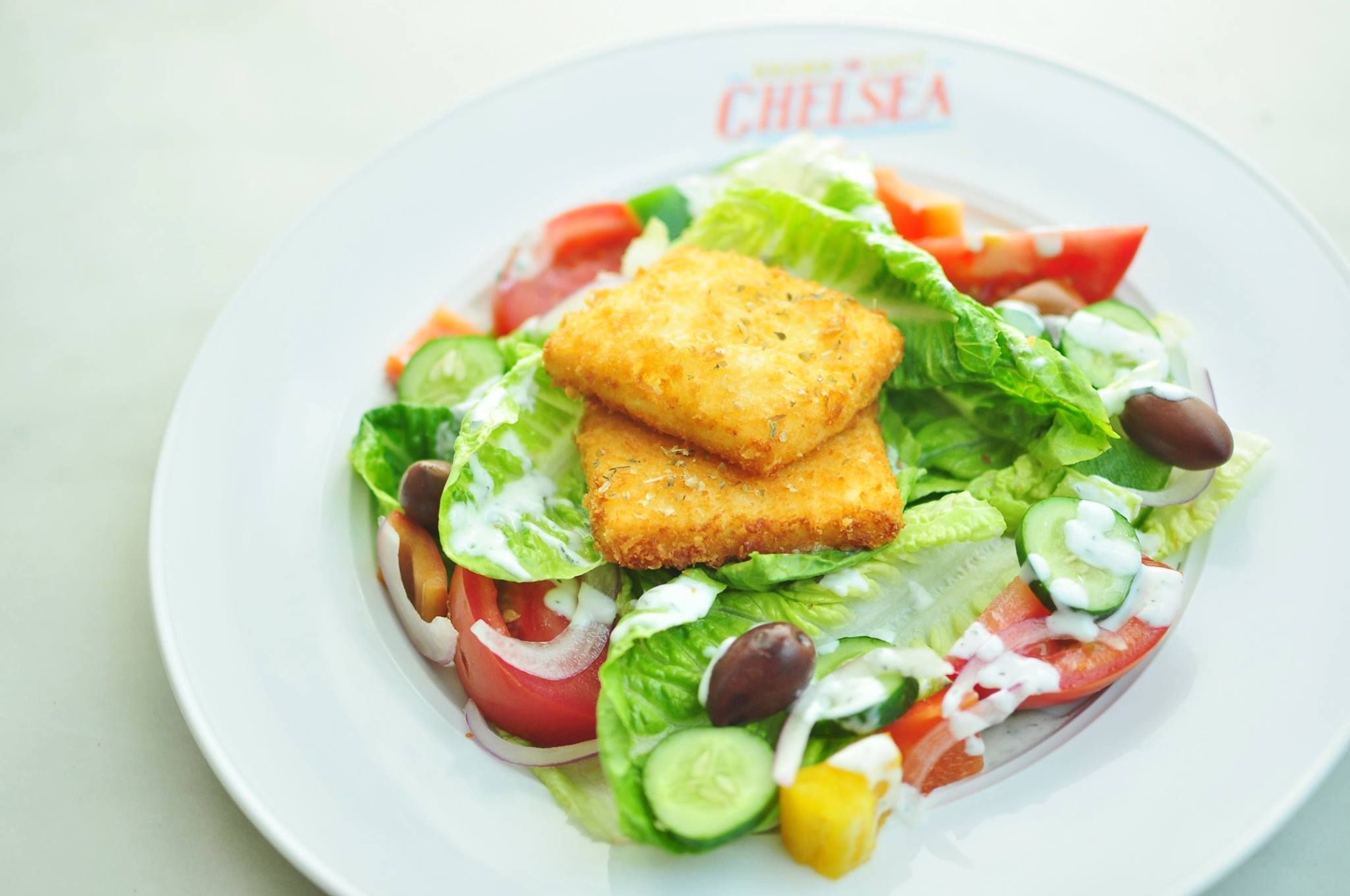 Chelsea Greek Salad with tomatoes, bell peppers, baby romaine, drizzled with lemon vinaigrette, dill yogurt and topped with panko crusted feta cheese. Buy Chelsea Grand Cafe Gift Certificates and Gift Cards at Gifted.PH online for anyone in Manila Philippines