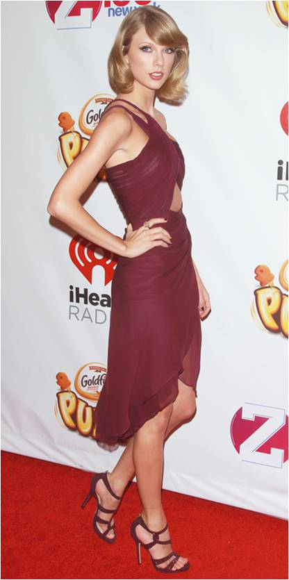 Taylor Swift in a Marsala gown