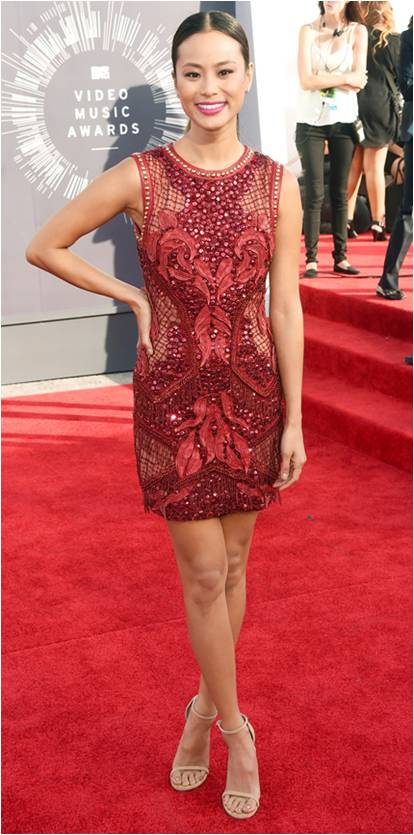 Jamie Chung in a Marsala gown 2015