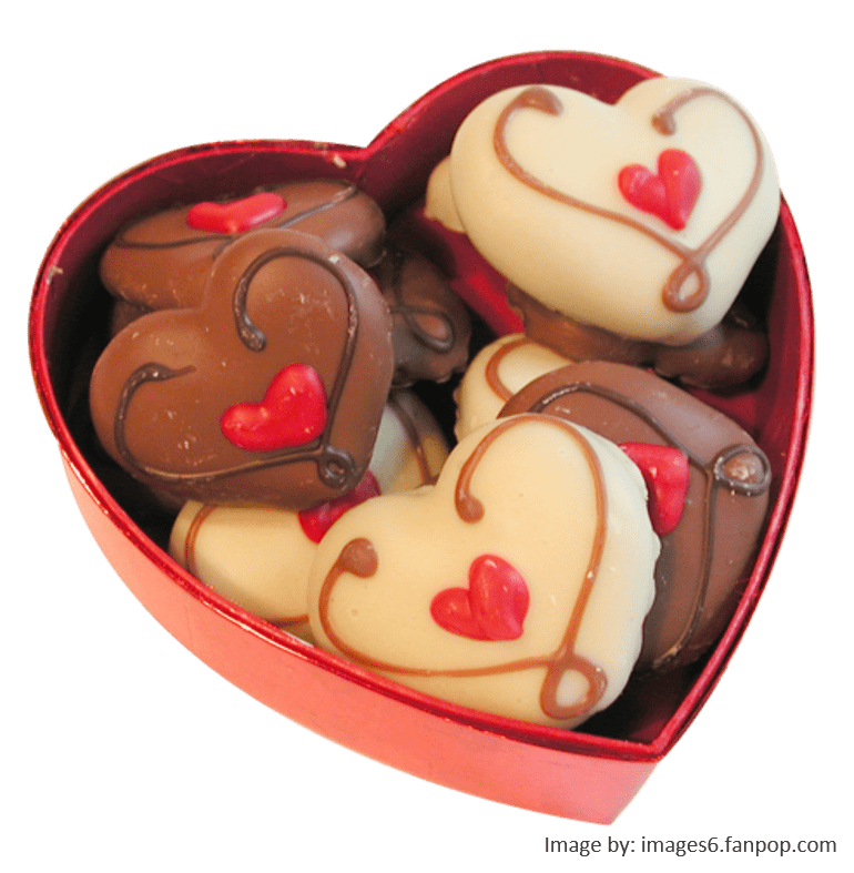 Box of chocolates in a heart for Valentine's Day