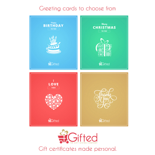 Greeting Cards for happy birthday, merry christmas, thank you or I love you, available together with your gift certificate or gift card at Gifted.Ph - Manila Philippines