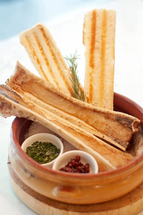 Bone Marrow | Rosemary Sultana Compote, Gremolata, Herb Garlic with Foccacia Crisps.  Buy Stella Gift Certificates and Gift Cards at Gifted.PH online for anyone in Manila Philippines