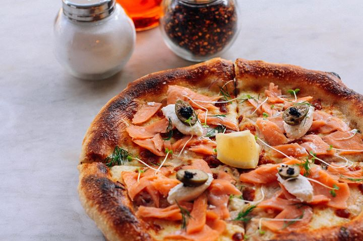 Smoked Salmon and Black Caviar Pizza has Ricotta creme fraiche with fresh dill, red onions and lemon caper berries at Stella Wood Fire Bistro Restaurant - Gifted.PH gift certiicate