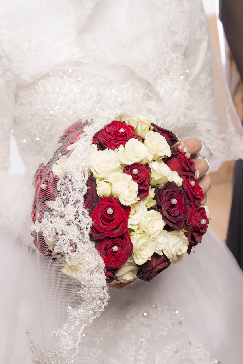 Red and White Rose Bouquet with Pearls